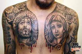 bleeding jesus christ and virgin maria portraits in grey ink with