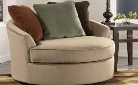 furniture cream microfiber round sofa with and brown cushion