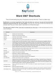 word 2007 shortcuts