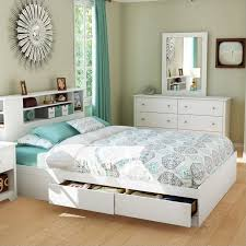 amazing white bed frame queen with bookcase headboard and drawer