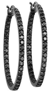 black diamond hoop earrings black diamond hoop earrings 2 0 ctw 2750 00 seriously qvc for