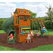 Home Depot Playset Installation Big Backyard Ridgeview Deluxe Clubhouse Swing Set Hayneedle