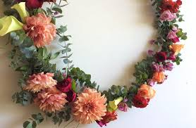 flower wreath class with giant hanging hoop rainy sunday