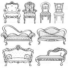 Couch Drawing Furniture Chair Armchair Throne Sofa Couch Divan Bed Stock Vector