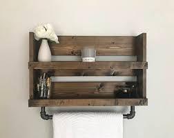 Rustic Industrial Bathroom - pipe towel bar etsy