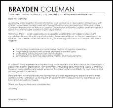 logistics coordinator cover letter sample livecareer