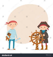 two little boys dressed sailors pirates stock vector 722865715