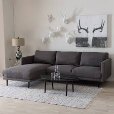 left facing chaise sectional sofa retro mid century modern grey fabric upholstered left facing chaise