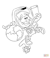 astronaut taking a selfie coloring page free printable coloring