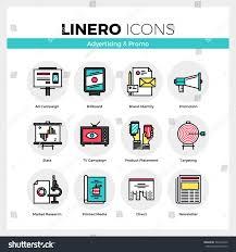 line icons set advertising media marketing stock vector 383742430
