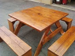 Wooden Picnic Tables With Separate Benches 4ft Square Douglas Fir Picnic Table With Four Separate 4ft Benches