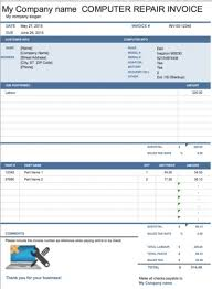 Proforma Invoice Template Computer Repair Invoice Free Template For Excel U2013 Firmsinja Info