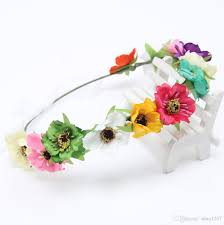 flower band multi colour fashion women flower crown festival headband wedding