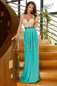 inpuff rochii rochie lunga matase verde si bust din dantela