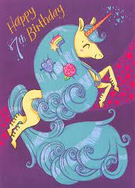 unicorn with blue hair 7th birthday card by designer