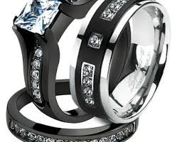 black wedding rings his and hers black titanium ring etsy