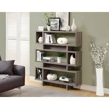 agnes taupe open bookcase modern bookshelf home office