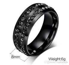 black mens wedding ring 8mm mens black stainless steel ring with black stones around