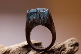 wood rings wedding wooden rings with a miniature world inside