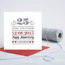 wedding anniversary plaques 25th wedding anniversary personalised card by gift library