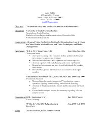 Tv Host Resume Intern Resume Example Production Resume Samples Production Resume