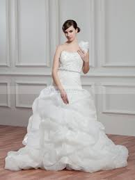 one shoulder wedding dress ruffled one shoulder wedding dress with appliques and up skirt