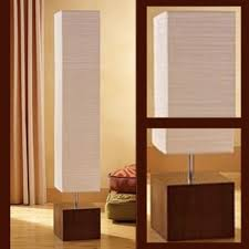 Bamboo Floor Lamp Floor Modern Lamp Tall Rice Paper Tall Square Shade Gray Bamboo