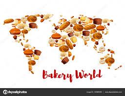 Vector World Map Bakery Bread Or Desserts Vector World Map U2014 Stock Vector