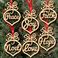 6pcs tree hanging decoration laser cut plywood peace