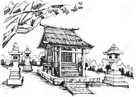 free hand sketch japanese shrine royalty free cliparts vectors