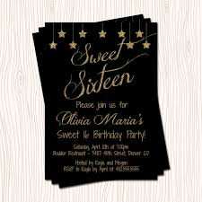 Gold Invitation Card Classic Black Silver Or Gold Glitter Star Sweet 16 Sixteen