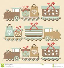 cute vintage christmas steam train with gifts ca stock vector