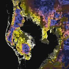 Map Of Tampa Florida Tampa St Petersburg Florida U2013 Elevation And Population Density 2010