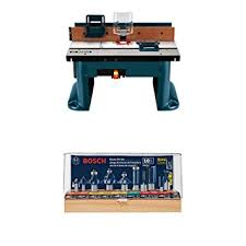 bosch router table accessories bosch ra1181 benchtop router table w router bit set amazon com