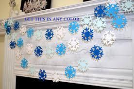 blue white snowflake garland frozen snowflake theme