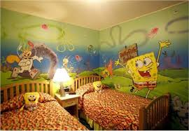 interior space themed cool wallpaper ideas in white theme bedroom cool wallpaper ideas in spongebob square pants motif mixed with small squrae wooden table and