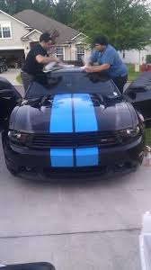 Blue Mustang Black Stripes Black 2011 Mustang Gtcs With Grabber Blue C Stripe And Spears