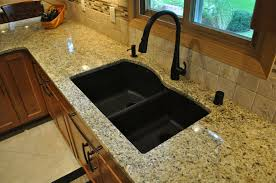 Brown Kitchen Sink Vintage Black Ceramic Mount Sink Mixed Brown Granite Counter