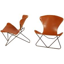 iron and leather sling chairs california design