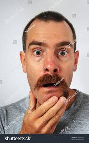 surprised man uneven mustache trimmed more stock photo 62660203