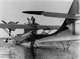 consolidated pby 5a catalina seaplane is filled with fuel before a