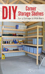 great idea for diy corner shelves to create storage in a garage or