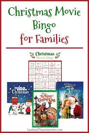 christmas movie bingo printable for families