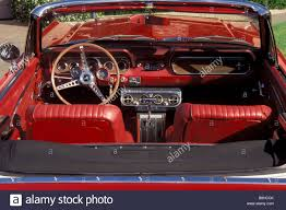 mustang classic classic 1966 ford mustang convertible red leather interior stock