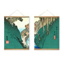 japanese style green mountains decoration wall pictures