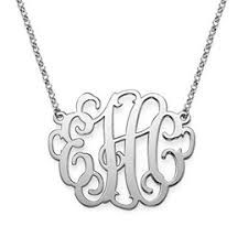 monogram necklaces silver initial monogram necklaces in gold and silver monogram jewelry