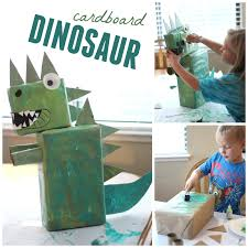 toddler approved collaborative cardboard dinosaur art