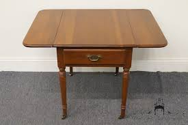 Cherry Drop Leaf Table High End Used Furniture Statton Trutype Americana Solid Cherry