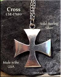 silver cross necklace pendants images Sterling silver iron cross pendant maltese cross necklace jpg