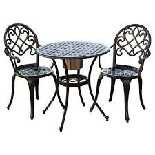 Aluminum Bistro Table And Chairs Angeles 3pc Cast Aluminum Bistro Set Copper Christopher